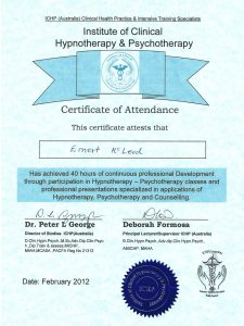 Clinical Hypnotherapy & Psychotherapy Certificate ICHP